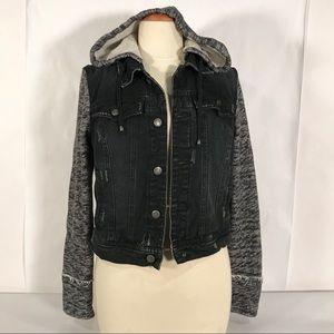 Free People Knit Hooded Denim Jacket Black Small